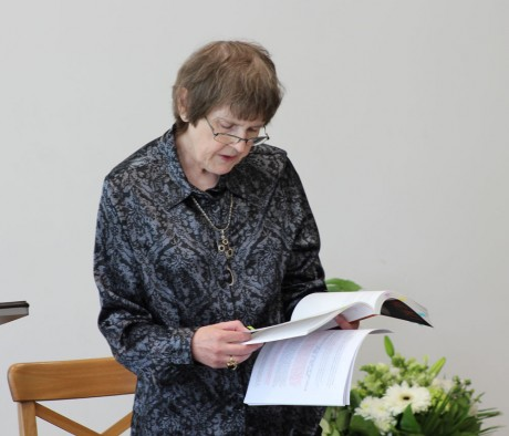 Susan reading at the book launch