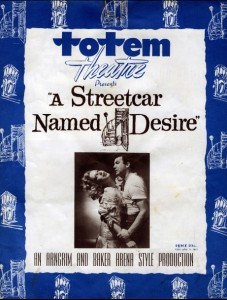 The program for A Streetcar Named Desire, starring Bruno Gerussi