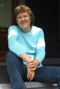 Susan sitting on steps